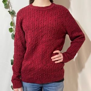 Karen Scott Heather Red Crew Neck Cable Sweater